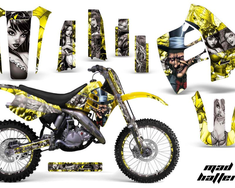 AMR Racing Graphics MX-NP-SUZ-RM125-90-92-HAT S Y Kit Decal Sticker Wrap + # Plates For Suzuki RM125 RM250 1990-1992 HATTER SILVER YELLOW
