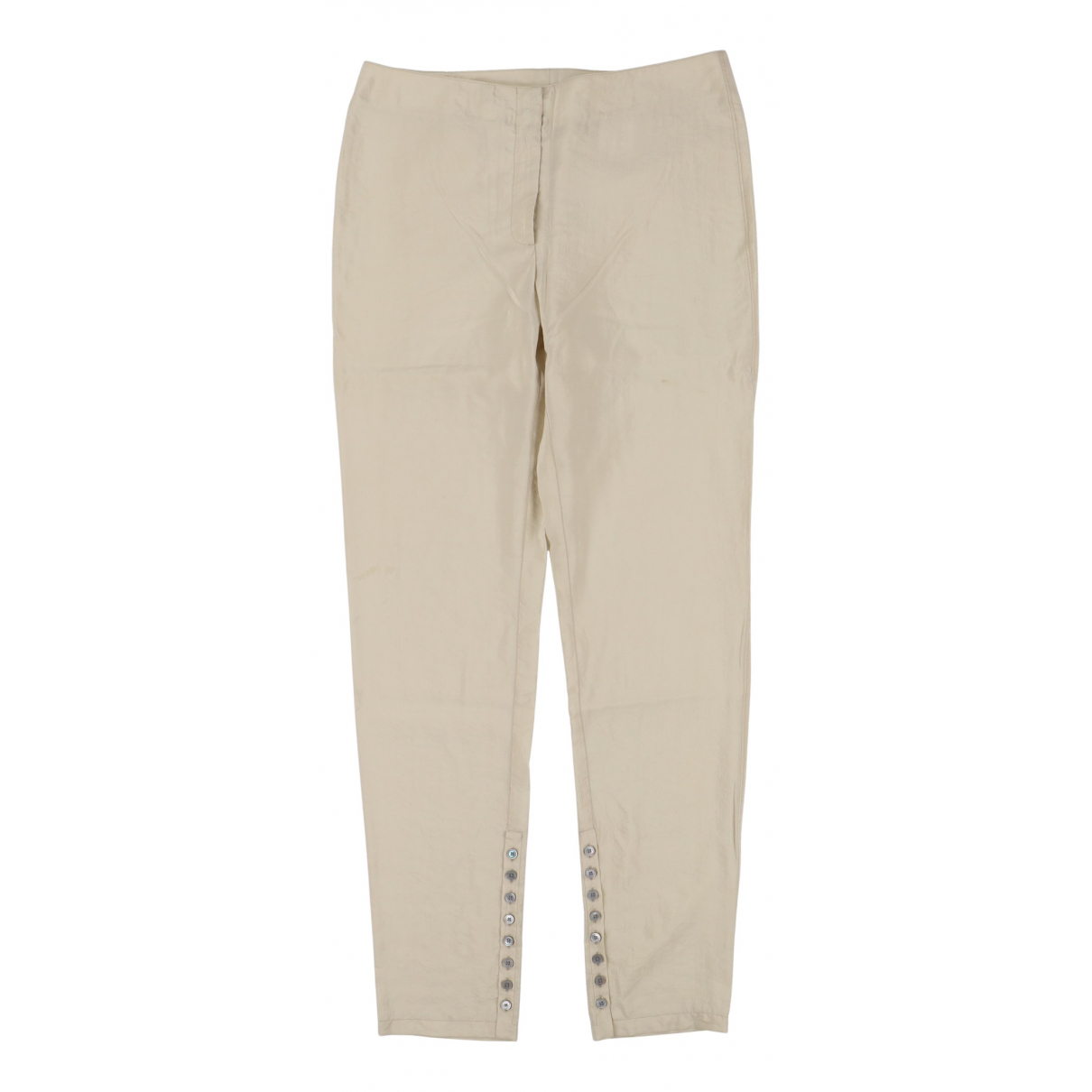 Lemaire \N Beige Silk Trousers for Women 42 FR