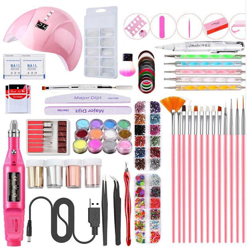 Manicure Nail Polish Gel Kit 36W UV Phototherapy Lamp USB Nail Drill Color Glitter Powder Nail Art Kit