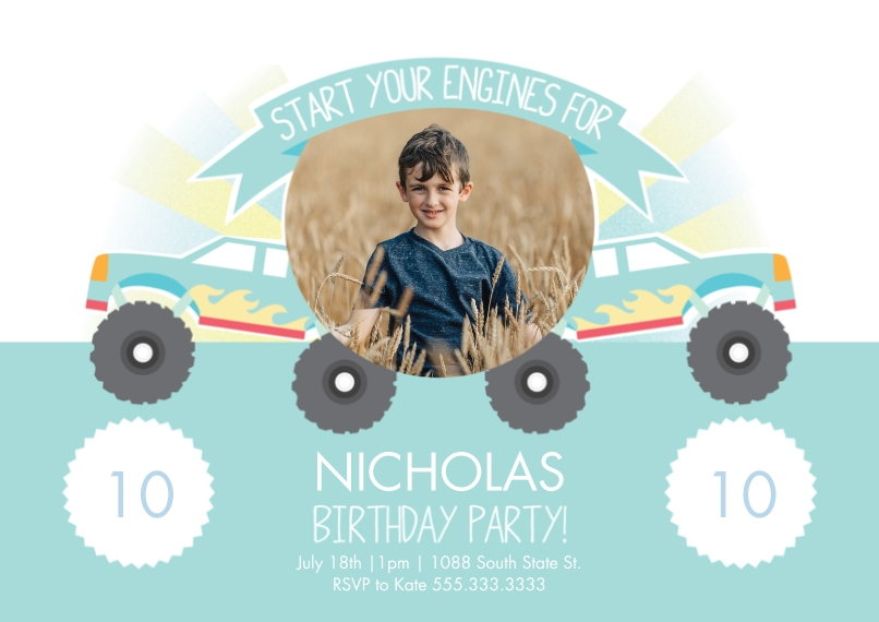 Kids Birthday Party Invites 5x7 Cards, Premium Cardstock 120lb, Card & Stationery -Monster Truck Birthday