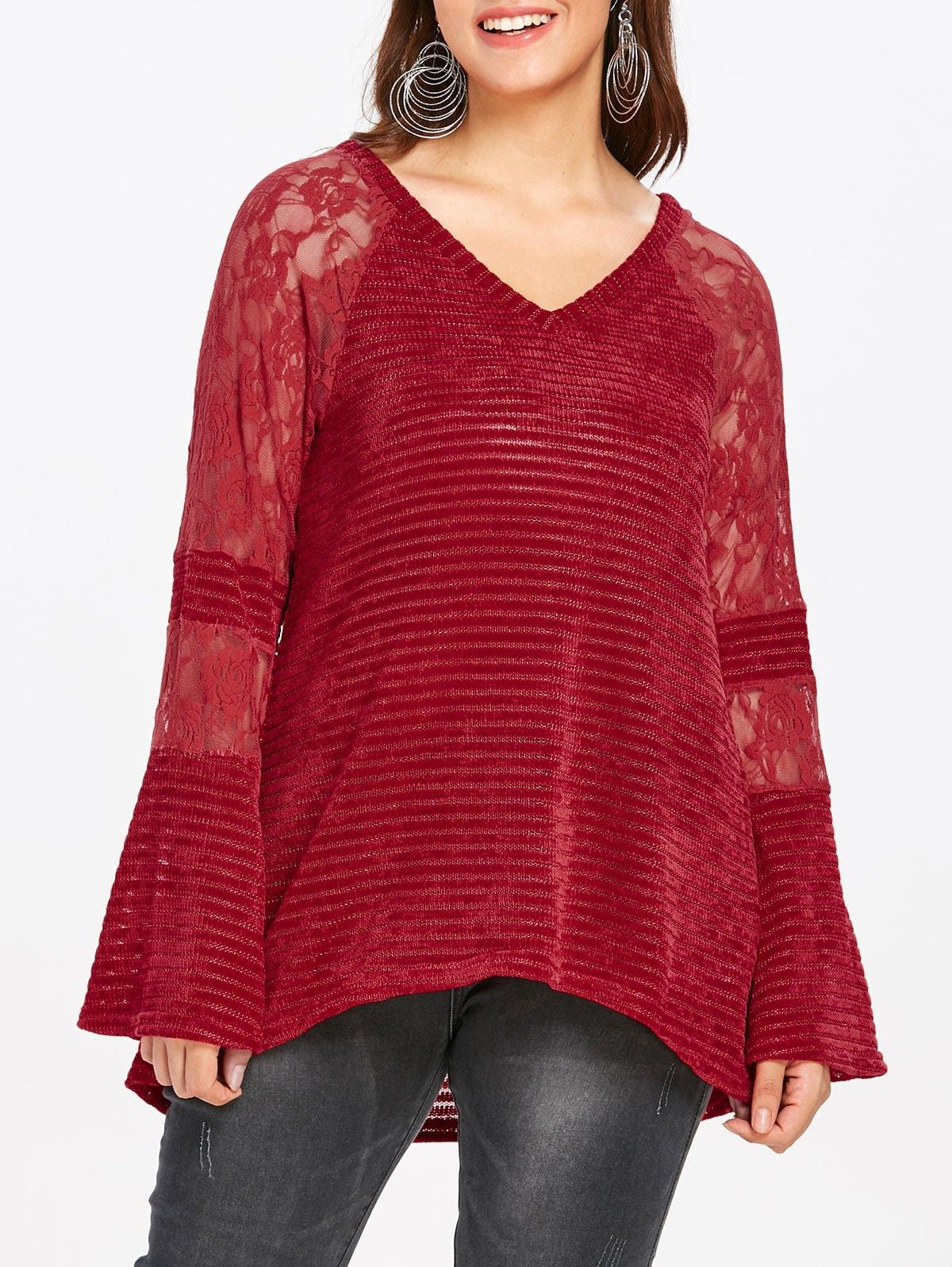 Plus Size V Neck Lace Panel Knitwear