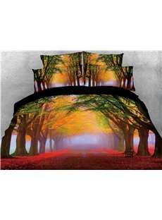 Yellow Trees and Fallen Leaves Printed 4-Piece 3D Bedding Sets/Duvet Covers