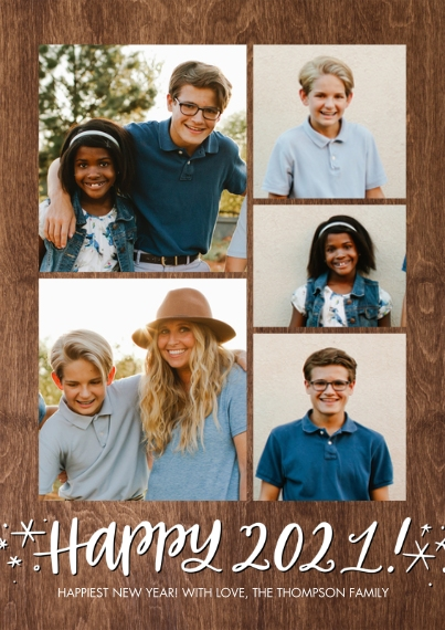 New Year's Photo Cards 5x7 Cards, Standard Cardstock 85lb, Card & Stationery -2021 Happy Stars by Tumbalina