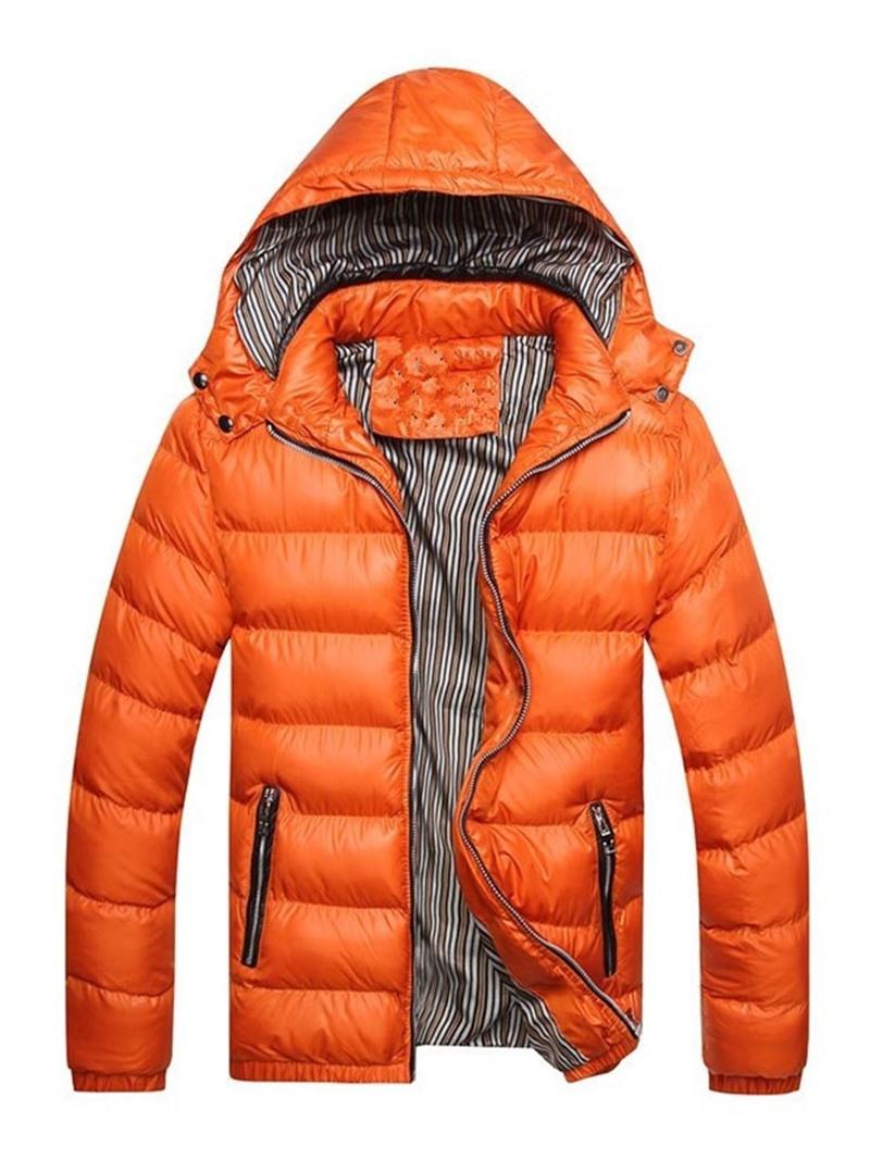 Ericdress Color Block Standard Hooded European Zipper Men's Down Jacket