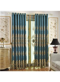 European Luxury Royal Blue Danube Upscale Chenille Blackout Custom Grommet Curtains