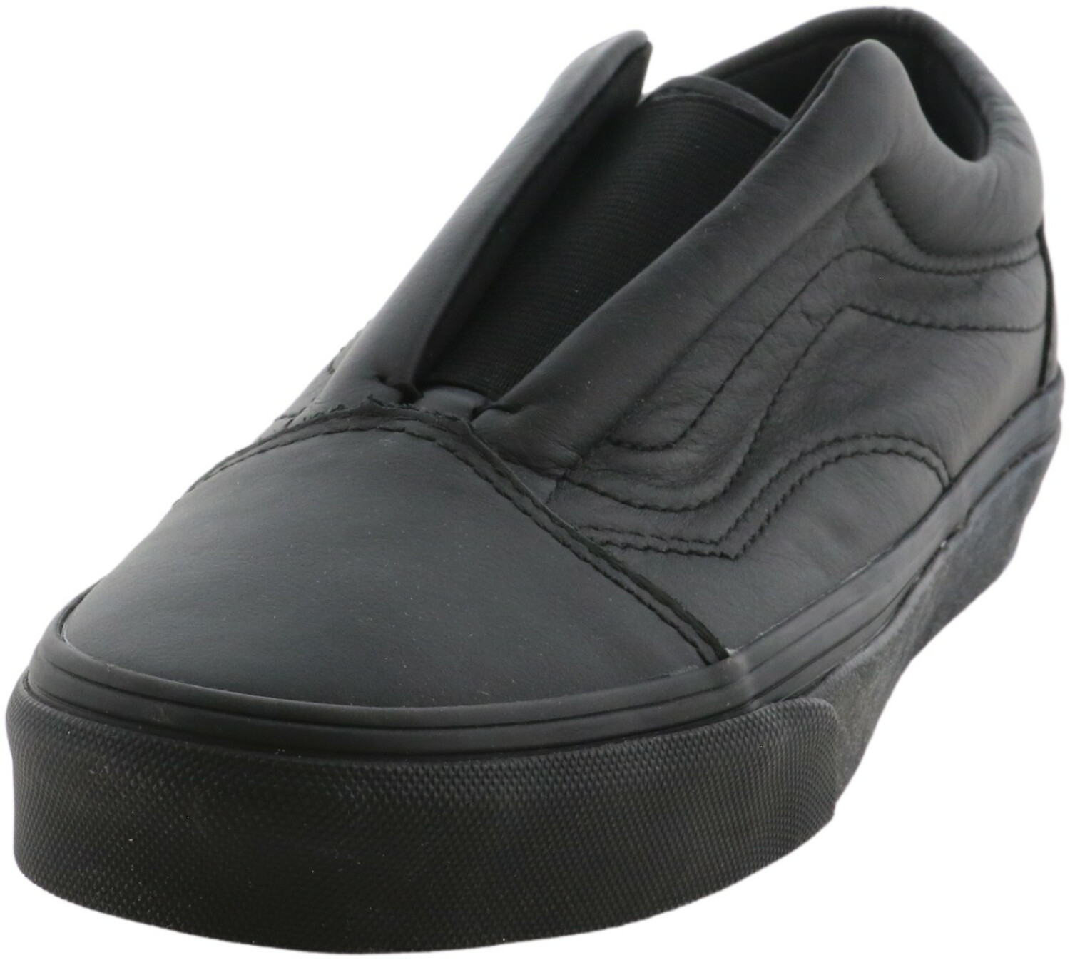 Vans Old Skool Laceless Leather Black Low Top Slip-On Shoes - 5M / 3.5M