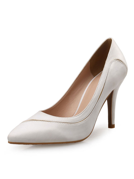 Milanoo Women High Heels Satin Rose Pointed Toe Slip On Pumps Evening Shoes