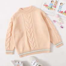 Girls Striped Cable Knit Sweater