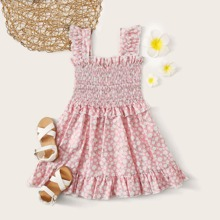 Baby Girl Floral Shirred Ruffle Flowy Dress
