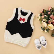 Toddler Boys Contrast Panel Bow Front Sweater Vest