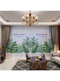 3D Green Leaves Printed Breathable 2 Panels Custom Sheer