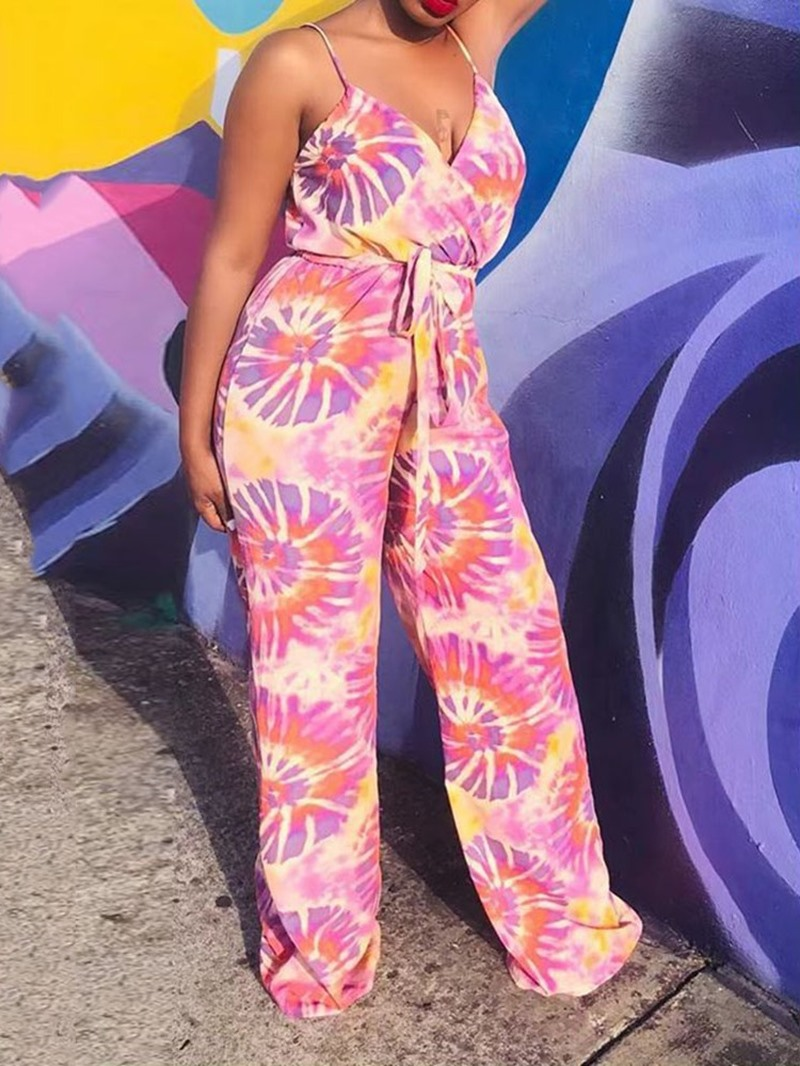 Ericdress African Fahion Strap Print Loose Jumpsuit