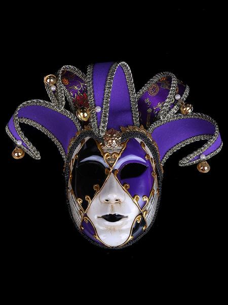 Milanoo Covering Mardi Gras Embroidered Pearl Bell Color Block Gilding Masquerade Costume Accessories