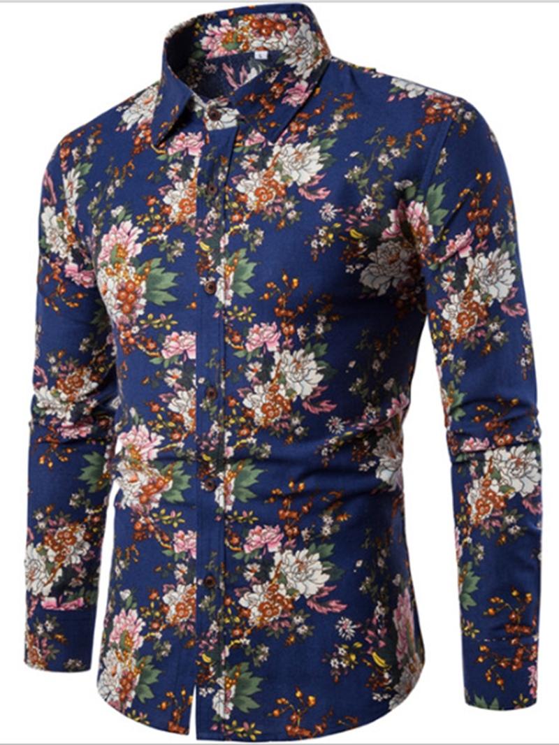 Ericdress Lapel Print Patchwork Men's Casual Shirt