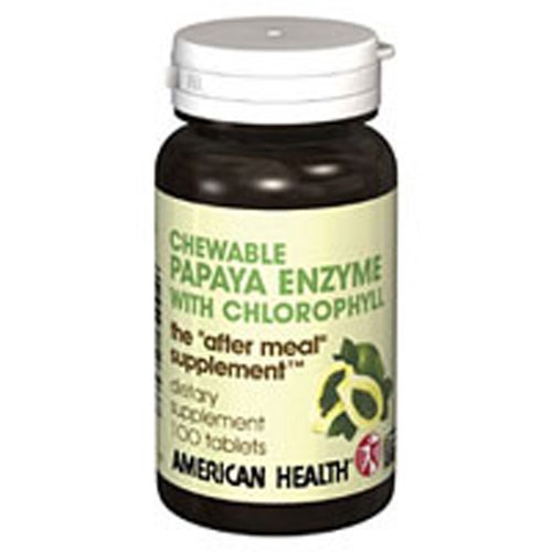 Papaya Enzyme With Chlorophyll 250 Chewable Tablets by American Health