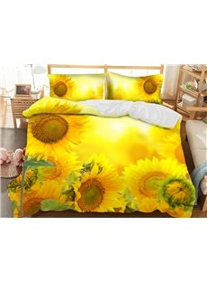 Yellow Sunflowers Soft 3D Printed Polyester 3-Piece Bedding Sets/Duvet Covers