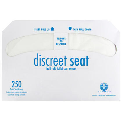 Hospeco® Discreet Seat DS-1000 Half-Fold Toilet Seat Covers, White (4 Pack of 250)