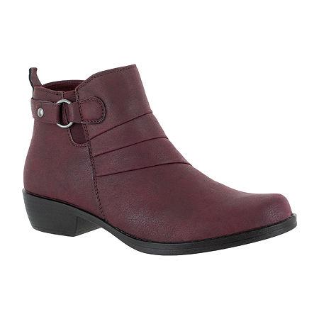 Easy Street Womens Shanna Booties Block Heel, 6 Narrow, Red
