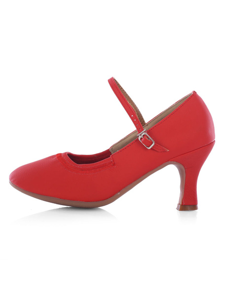 Milanoo Women's Ballroom Shoes Red Round Toe Mary Jane Strap Chunky Heel Latin Dance Shoes
