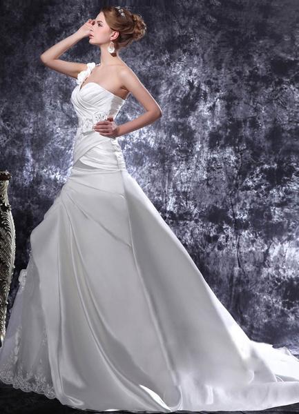 Milanoo Chapel Train A-line Sweetheart Beading Satin White Bridal Wedding Gown
