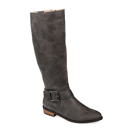 Journee Collection Womens Winona Stacked Heel Riding Boots, 12 Medium, Gray