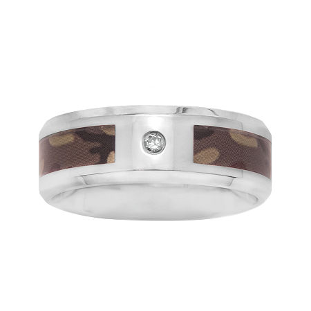 Mens 8 Mm Accent Genuine White Diamond Stainless Steel Band, 10 , No Color Family