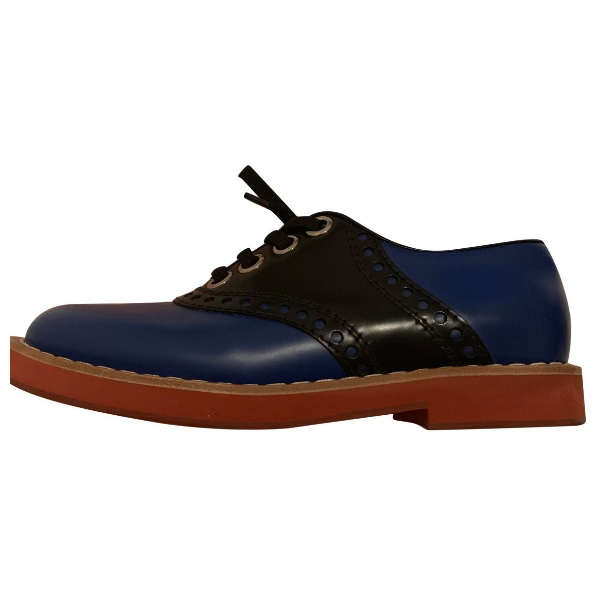 Miu Miu \N Blue Leather Flats for Women 39 IT