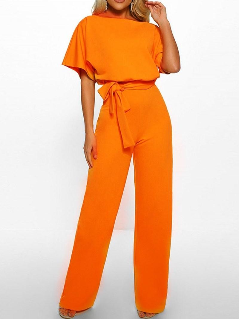 Ericdress Plain Full Length High Waist Loose Belt Jumpsuit