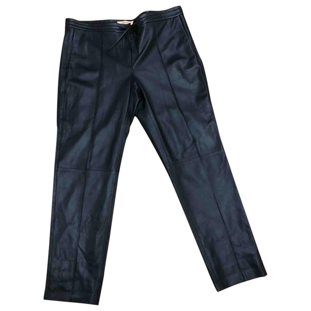 Yves Salomon \N Black Leather Trousers for Women 40 FR