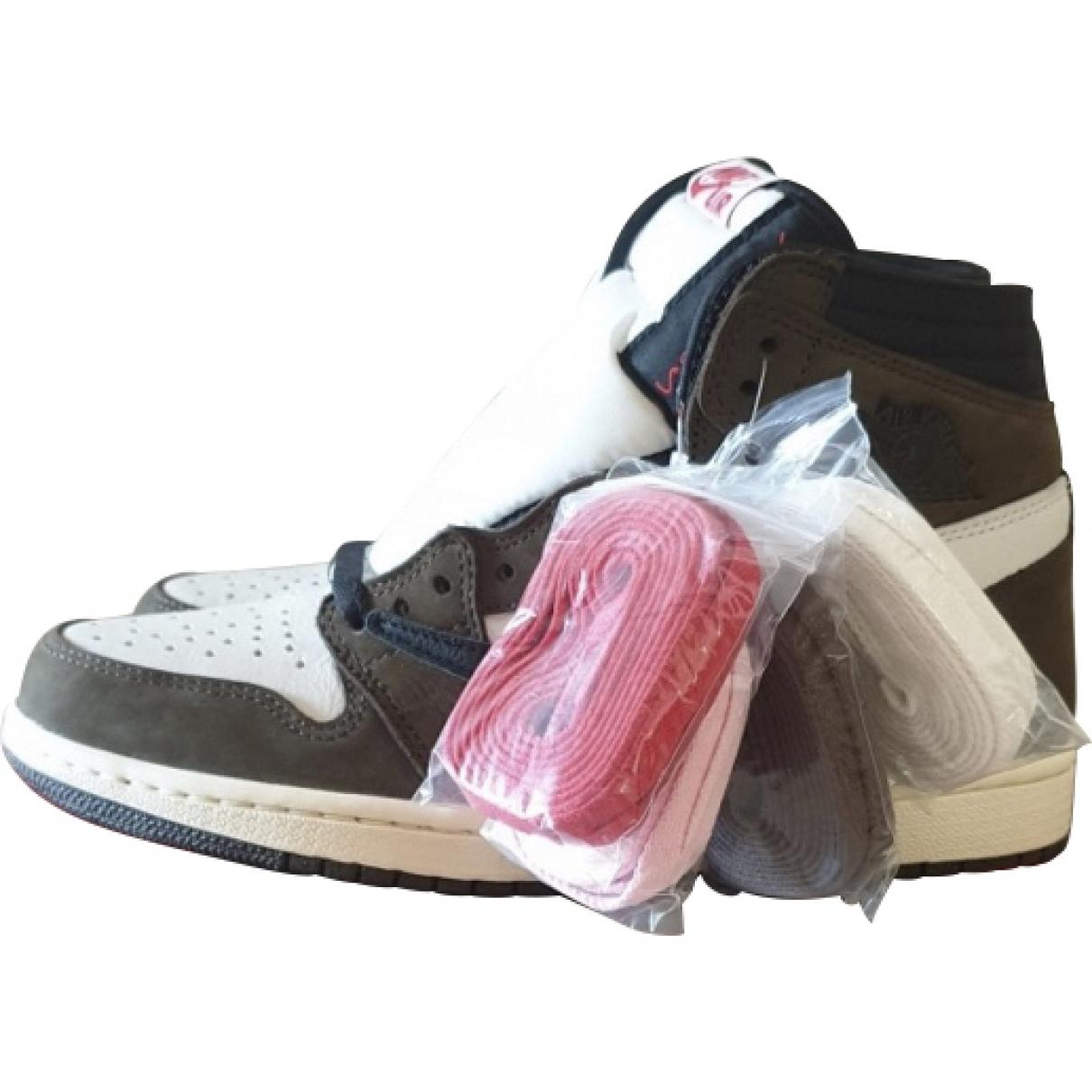 Nike X Travis Scott Air Jordan 1 Brown Leather Lace ups for Men 7 UK