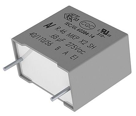 KEMET 680nF Polypropylene Capacitor PP 310 V ac, 630 V dc ±20% Tolerance Through Hole R46 Series (9)