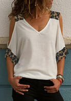 Leopard Printed Cold Shoulder Blouse without Necklace - White