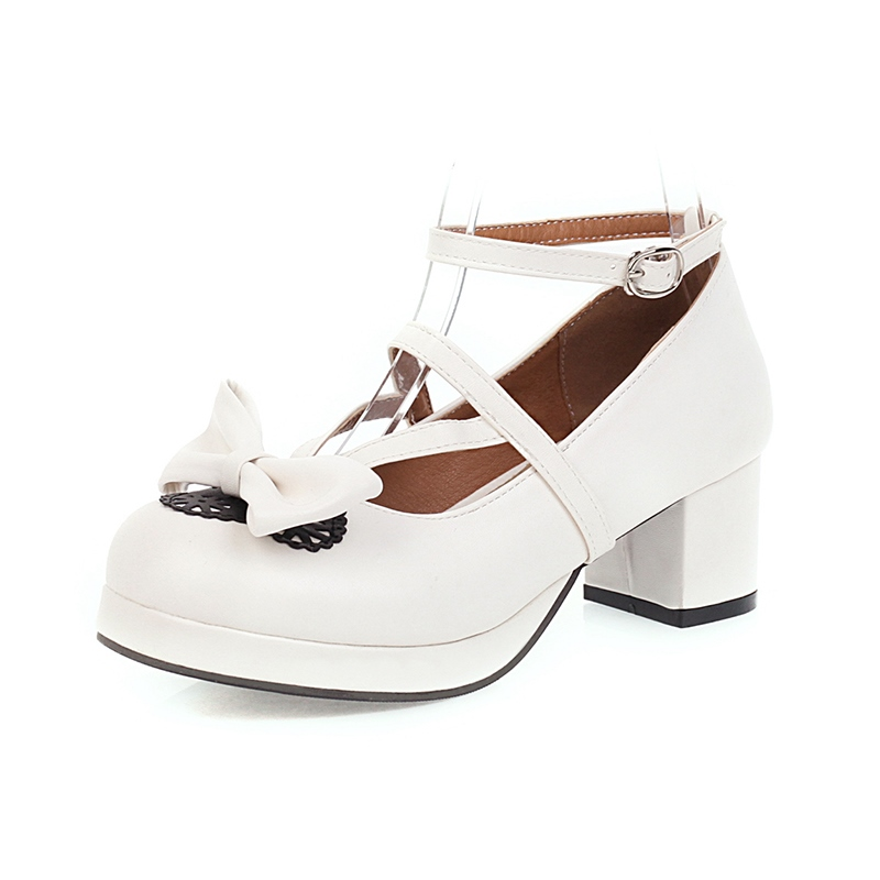 Ericdress Block Heel Round Toe Line-Style Buckle 5cm Thin Shoes