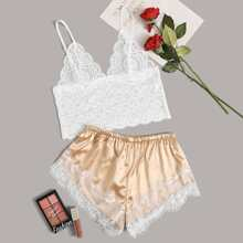 Floral Lace Bralette With Satin Shorts