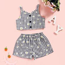 Toddler Girls Daisy Floral Button Up Cami Top With Shorts