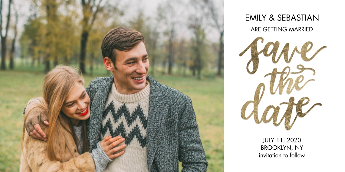 Save the Date Flat Glossy Photo Paper Cards with Envelopes, 4x8, Card & Stationery -Save the Date Shimmer Gold