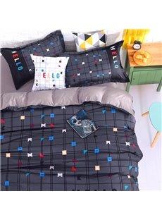 Adorila 60S Brocade Simple Geometric Plaid Pattern 4-Piece Cotton Bedding Sets/Duvet Cover