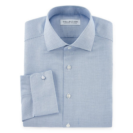 Collection by Michael Strahan Mens Spread Collar Long Sleeve Wrinkle Free Stretch Dress Shirt - Big and Tall, 18 38-39, Blue
