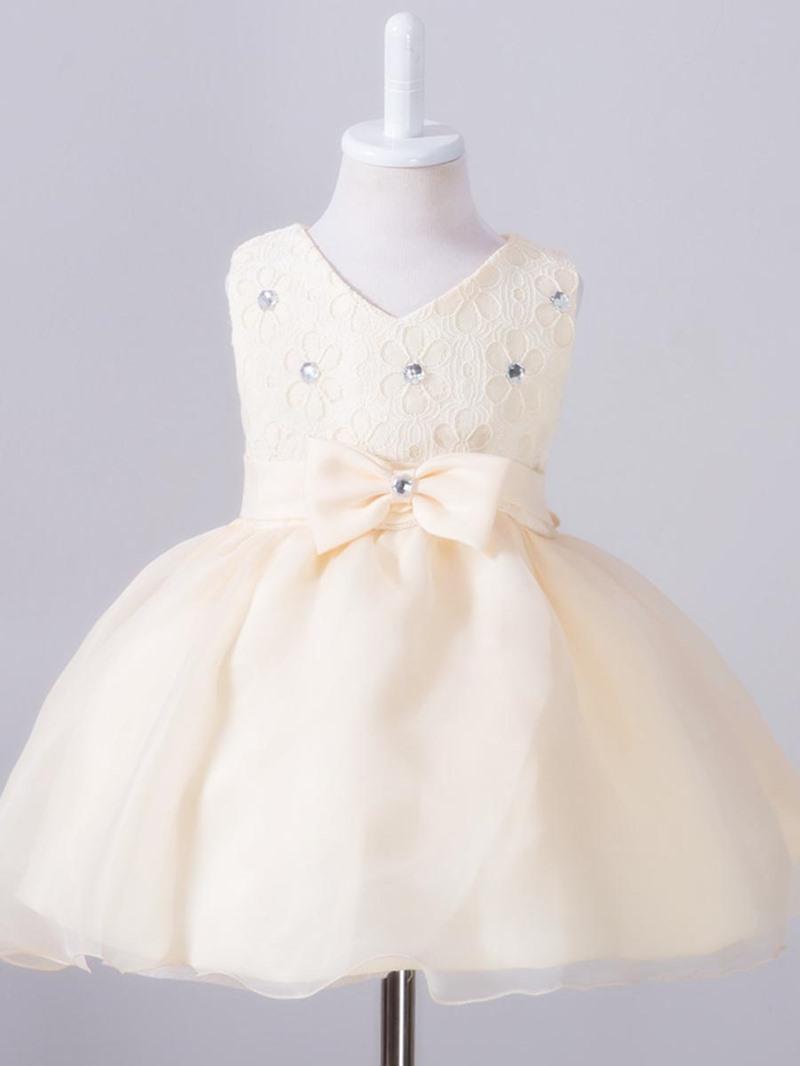 Ericdress Lace Diamond Bow Princess Girls Dress