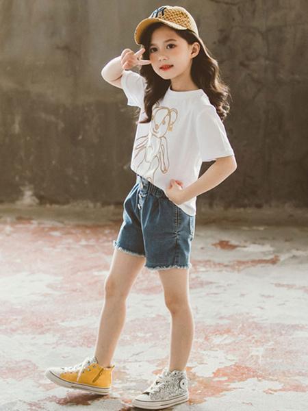 Milanoo Girls Clothing Sets Age 4-11 White Short Sleeves T-Shirt And Short Pants