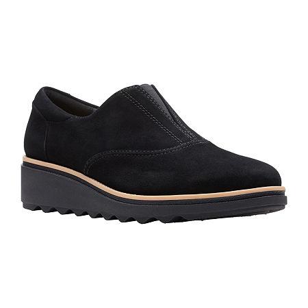 Clarks Womens Sharon Sail Slip-On Shoe, 6 1/2 Medium, Black