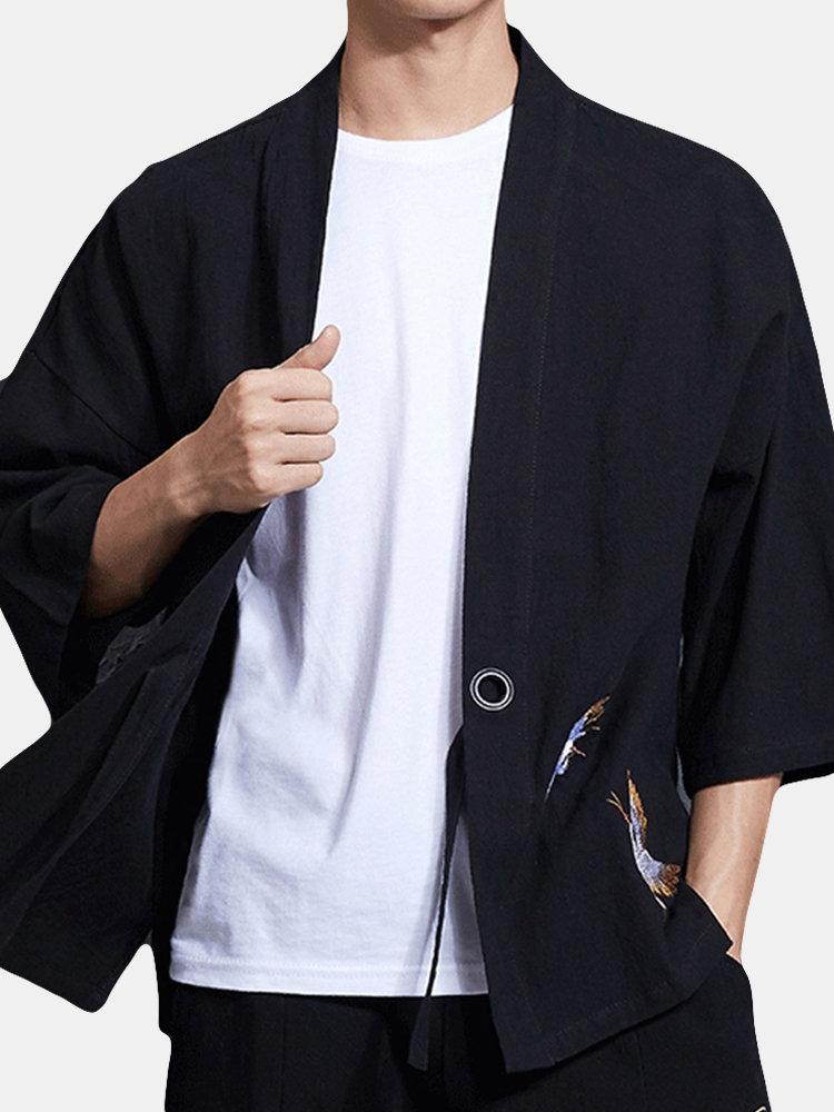 Cotton Embroidered Hanfu Three Quarter Sleeve Sunscreen Shirts for Men