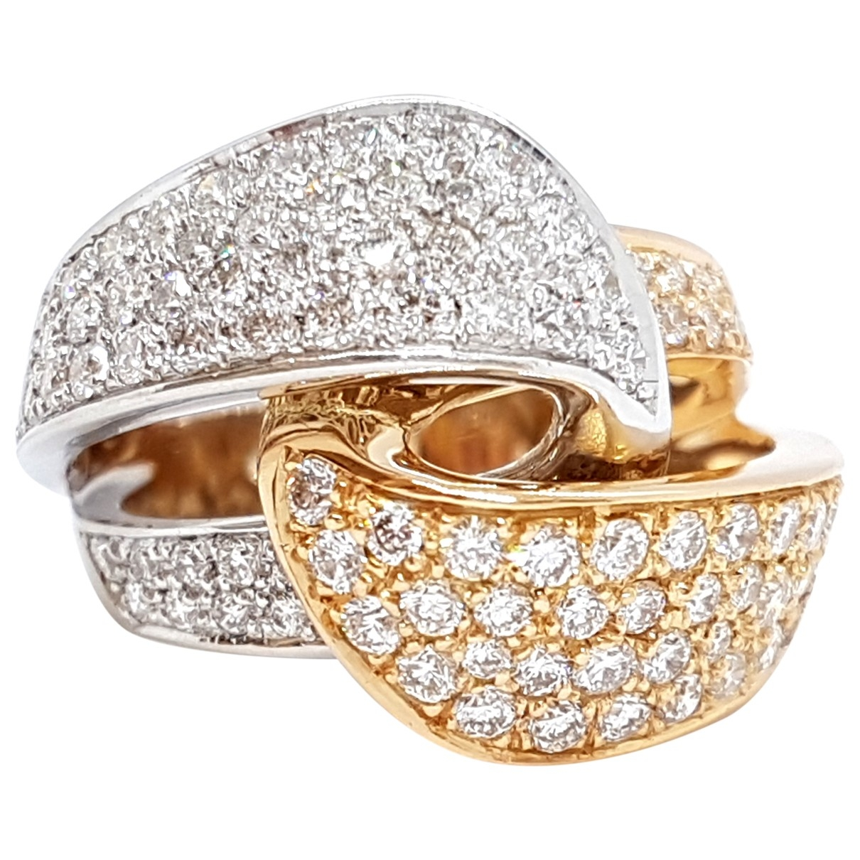 Non Signé / Unsigned \N Silver Pink gold ring for Women \N