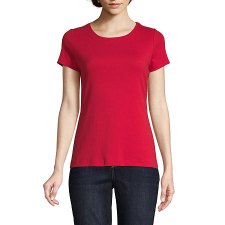 St. John's Bay Tall-Womens Crew Neck Short Sleeve T-Shirt, Xx-large Tall , Red