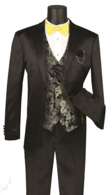 Mens Shawl Lapel Shiny Stripe 3 Piece Fashion Suit Black