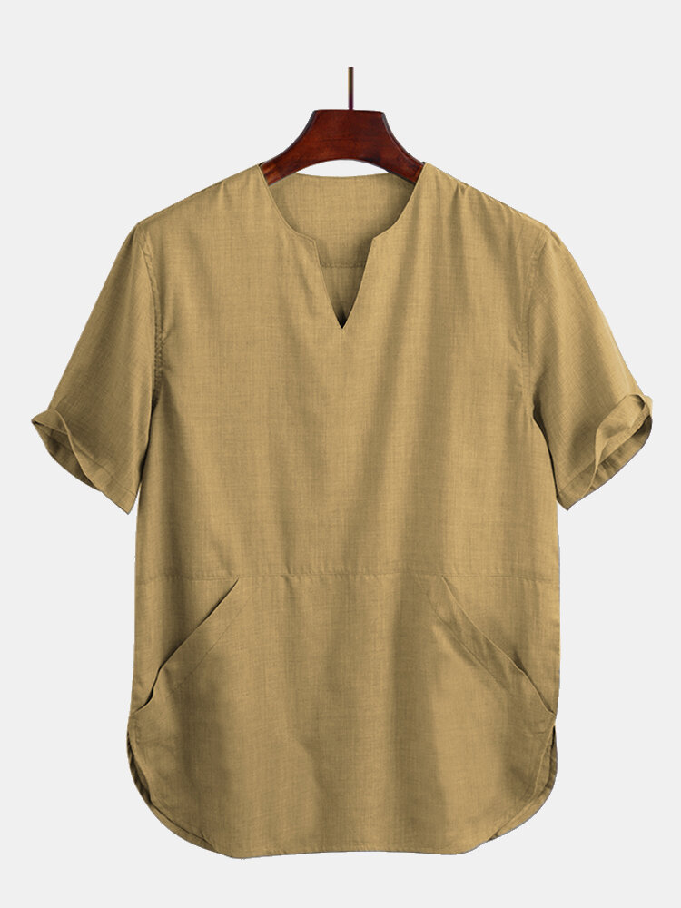 Mens Cotton Thin & Breathable Oriental Kangaroo Pocket Loose Short Sleeve T-Shirt