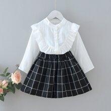 Toddler Girls Ruffle Trim Blouse And Plaid Print Skirt