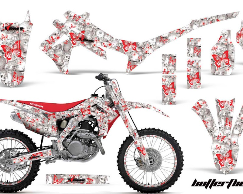 AMR Racing Graphics MX-NP-HON-CRF450R-13-16-BF R W Kit Decal Sticker Wrap + # Plates For Honda CRF450R 2013-2016áBUTTERFLIES RED WHITE