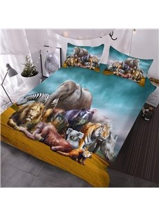 Natural African Safari Animals Printed 3D 3-Piece Comforter Sets Colorfast Wear-resistant Endurable Skin-friendly All-Season Ultra-soft Microfiber No-