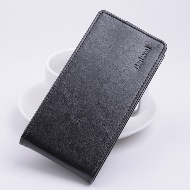 Baiwei Protective Hard Cover Up&Down Flip Stand Leather Case for MEIZU MX5 Smartphone - Black